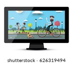 lcd monitor screen with city... | Shutterstock .eps vector #626319494