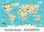 Stock vector vector illustration of a world map with animals 626320991