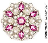 mandala brooch jewelry  design... | Shutterstock .eps vector #626324957