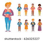 young parents. children slings. ... | Shutterstock .eps vector #626325227