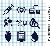 set of 9 blood filled icons... | Shutterstock .eps vector #626335319