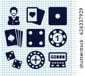 set of 9 gamble filled icons... | Shutterstock .eps vector #626337929
