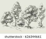 graphic trees line or border | Shutterstock .eps vector #626344661