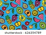 hand drawn doodle pattern with... | Shutterstock .eps vector #626354789