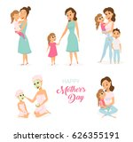 moder s day card. mom  daughter ... | Shutterstock .eps vector #626355191