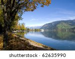 """Beautiful autumn day in """"Zell am See"""" Austria - stock photo"""
