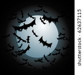 bats flying full moon | Shutterstock . vector #62637115