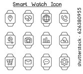 smart watch icon set in thin...
