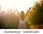 girl in the park in a white... | Shutterstock . vector #626381264