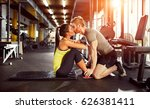 kiss from fitness partner as... | Shutterstock . vector #626381411