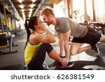 young couple at fitness... | Shutterstock . vector #626381549
