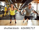 young couple on body training...   Shutterstock . vector #626381717