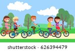 children in the park ride on... | Shutterstock .eps vector #626394479