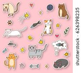 funny cats stickers with... | Shutterstock .eps vector #626398235