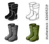 Rubber Boots Icon In Cartoon...