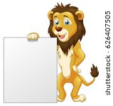 cute lion cartoon with sign.... | Shutterstock .eps vector #626407505
