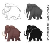 mammoth icon in cartoon style... | Shutterstock .eps vector #626409659