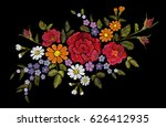 Stock vector embroidery flower rose poppy daisy gerbera herb sticker patch fashion print textile vector 626412935
