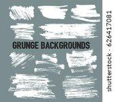 set of white grunge brush... | Shutterstock .eps vector #626417081