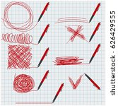 set of red ballpoint pens with... | Shutterstock .eps vector #626429555
