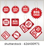 set of ten red and white sale... | Shutterstock .eps vector #626430971
