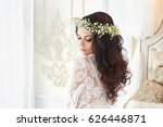 beautiful bride in lingerie and ... | Shutterstock . vector #626446871