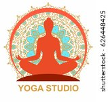 silhouette of woman in a yoga... | Shutterstock .eps vector #626448425