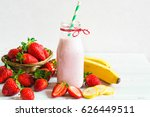 strawberry and banana smoothie... | Shutterstock . vector #626449511