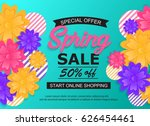 spring sale banner with flower. ... | Shutterstock .eps vector #626454461