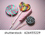 colorful candies on a dotted... | Shutterstock . vector #626455229