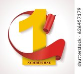 number one  yellow numeric with ... | Shutterstock .eps vector #626457179