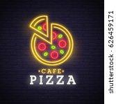 pizza logo  emblem. pizza neon... | Shutterstock .eps vector #626459171