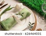 beautiful festive table setting ... | Shutterstock . vector #626464031