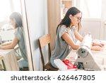 closeup portrait of young woman ... | Shutterstock . vector #626467805