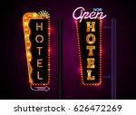 neon sign city banner hotel ... | Shutterstock .eps vector #626472269