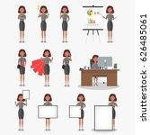 set of working businesswoman on ... | Shutterstock .eps vector #626485061