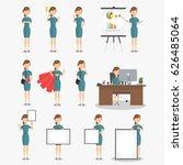 set of working businesswoman on ... | Shutterstock .eps vector #626485064