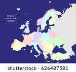 flat high detailed europe map.... | Shutterstock .eps vector #626487581