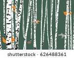 wild animals in a birch forest | Shutterstock .eps vector #626488361