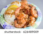 hawaiian shrimp plate lunch | Shutterstock . vector #626489009