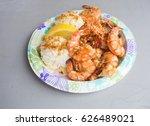 hawaiian shrimp plate lunch | Shutterstock . vector #626489021