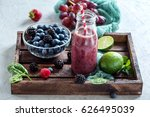 detox smoothie in bottle  with... | Shutterstock . vector #626495039