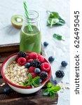 healthy breakfast  muesli with... | Shutterstock . vector #626495045