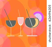 silhouettes of cocktails on an... | Shutterstock .eps vector #626496305
