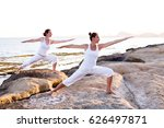 two sisters are doing yoga... | Shutterstock . vector #626497871