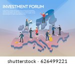 people on the europe map 3d.... | Shutterstock .eps vector #626499221