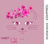 sweet cat head with flowers... | Shutterstock .eps vector #626499851