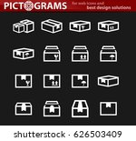 simple set of box and crates... | Shutterstock .eps vector #626503409