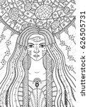 shaman boho girl with floral... | Shutterstock .eps vector #626505731