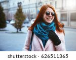 red haired beautiful girl is... | Shutterstock . vector #626511365